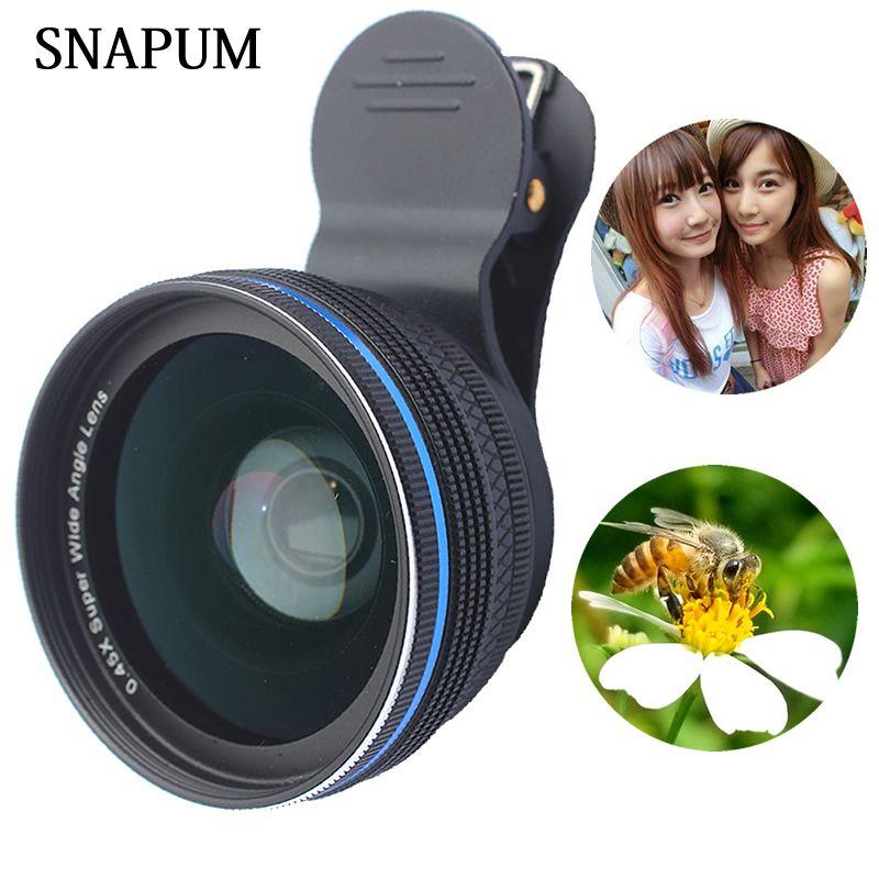 SNAPUM alliage d'aluminium Clip universel téléphone portable 0.45X lentilles d'ange larges + 10x macro lentille de téléphone portable pour iphone Huawei samsung