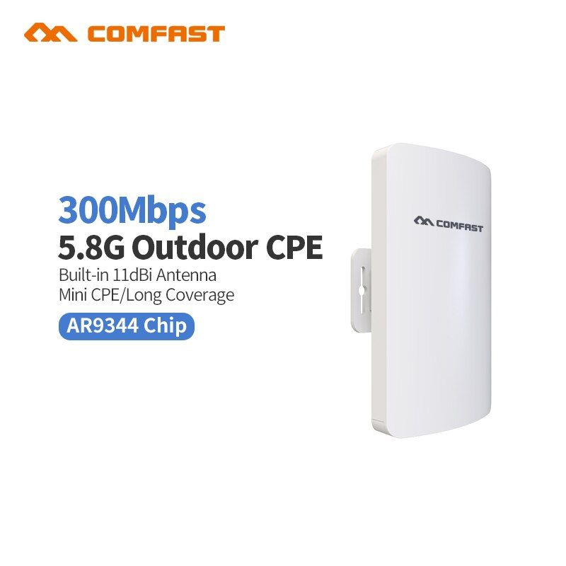 2018 Comfast CF-E120A Mini 300Mbps 5.8G Wireless CPE WIFI Router Outdoor WIFI Repeater 11dBi Antenna PoE Long Distance WIFI CPE