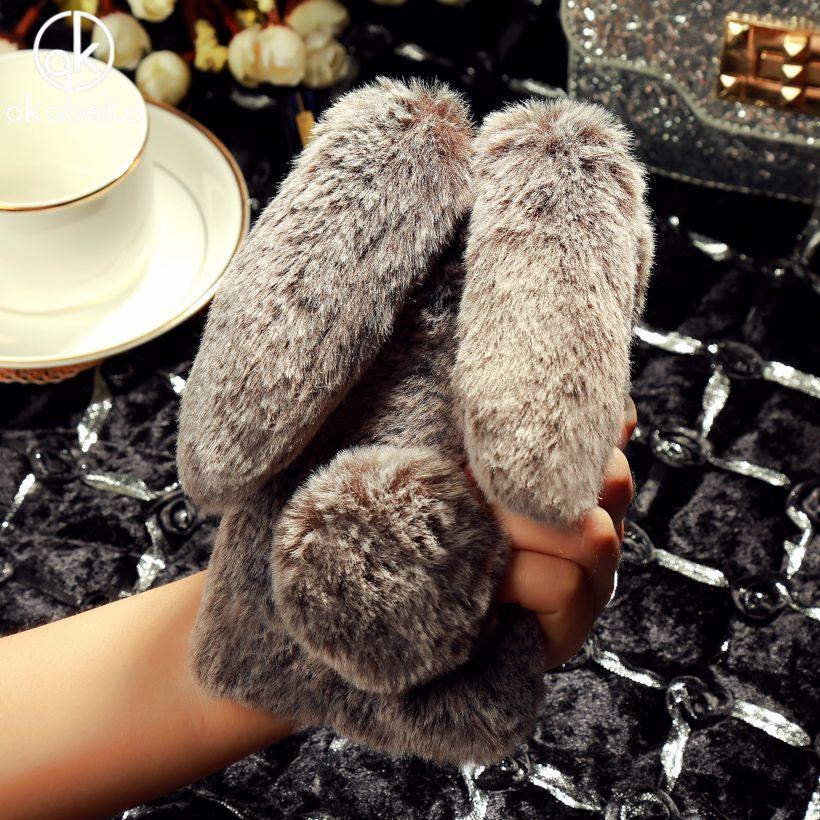 AKABEILA Rhinestone Rabbit Fur Cover For Xiaomi Redmi 4X Hongmi 4X 5.0 inch Fluffy Shockproof Cell Case Soft Silicone TPU Coque