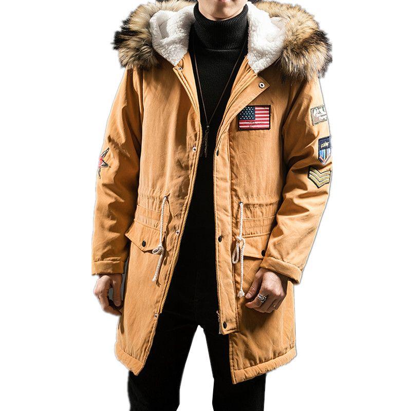 2018 Autumn Winter New Men's Casual Plus Velvet Thick Hooded Warm Wool Coat / Men's Fur Collar Long Parkas Down Wadded Jacket