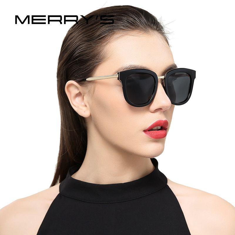 MERRY'S Women Classic Cat Eye Polarized Sunglasses Fashion Sun Glasses Metal Temple 100% UV Protection S'6082