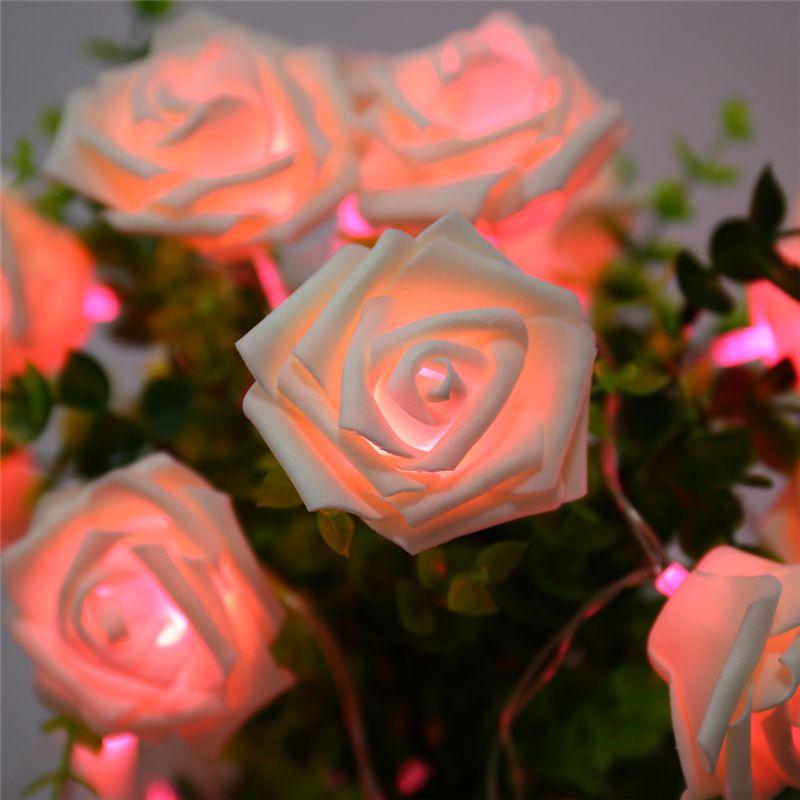 9 Farben Mode Urlaub Beleuchtung 20 LED Neuheit Rose Flower Fairy Lichterketten Hochzeit Garten Party Valentinstag Dekoration