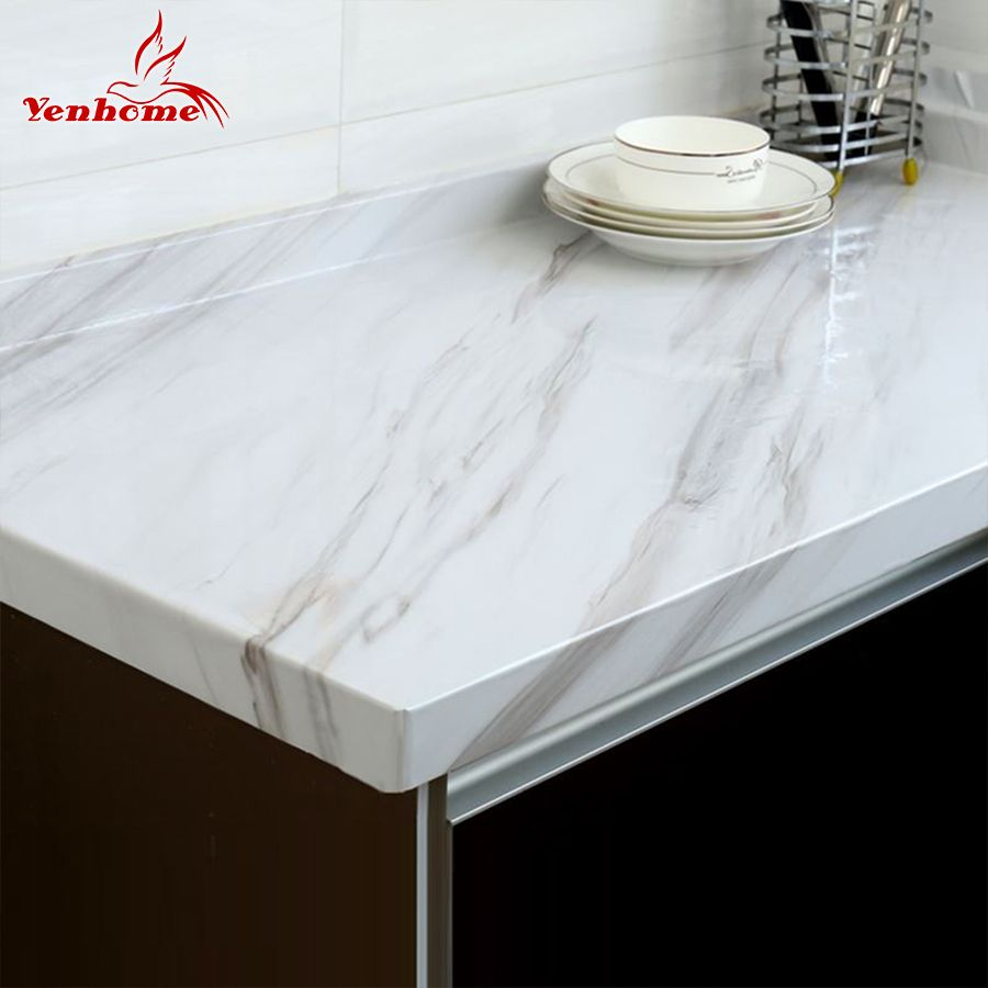 Marble Vinyl Film <font><b>Self</b></font> Adhesive Wallpaper for Bathroom Kitchen Cupboard Countertops Contact Paper PVC Waterproof Wall Stickers