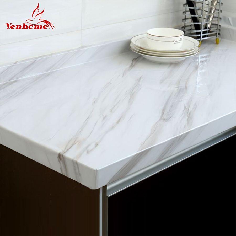 Papier peint auto-adhésif de Film de vinyle de marbre pour les comptoirs de placard de cuisine de salle de bains papier de Contact autocollants muraux imperméables de PVC