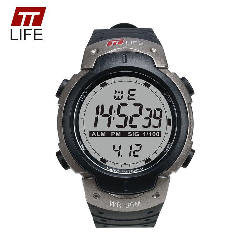 TTLIFE Sportuhr Männer Elektronische Wasserdicht 30 Mt Armbanduhr PU Band LED Military Chronograph Uhr Männer TS07 Mit Metall Box