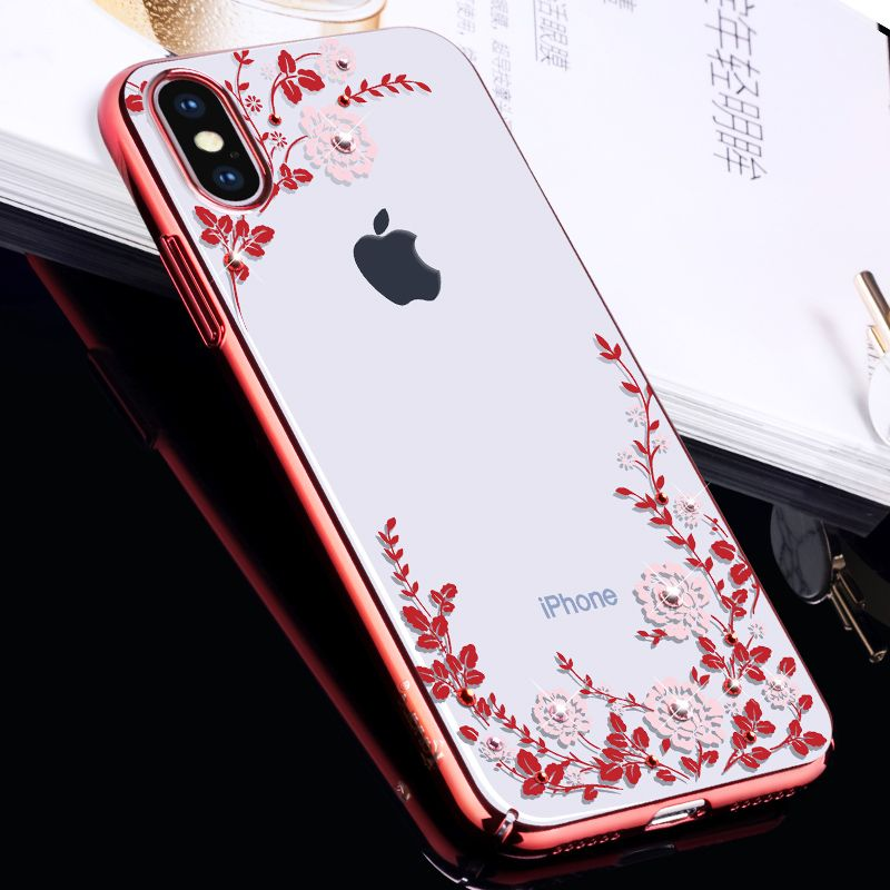 KAVARO for iPhone X 10 Cover Swarovski Element Crystals Diamond Plated PC Hard Floret Flower Case for iPhone X Case Phone Funda