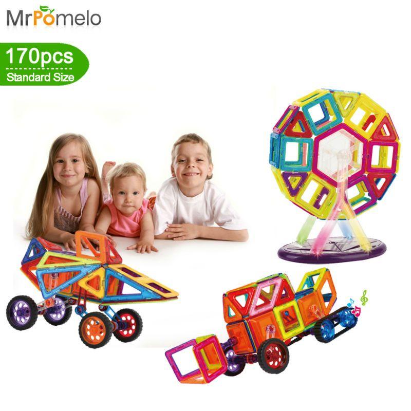 MrPomelo Magnetic Building Blocks Value 170 pcs Set 3D Building tiles Construction Music Creativity for Kids Magnet Stacking Toy