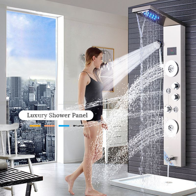 Newly Luxury Brushed Nickle Bathroom Shower Faucet LED Shower Panel Column Bathtub Mixer Tap With Hand Shower Temperature Screen