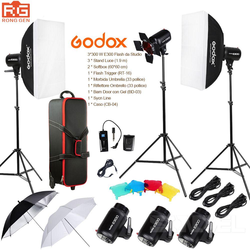 Godox E300 14in1 Professional Studio Flash Photography Light Set + Suitcase + Portable Umbrella softbox + Light Stand + Trigger