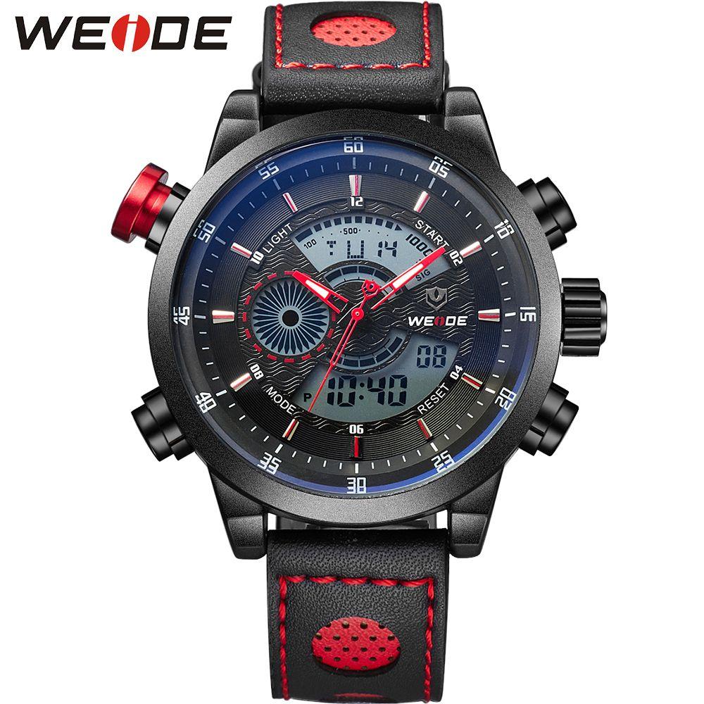 WEIDE Sportuhr 3ATM Quarz Digital LCD Dual Time Datum Tag Alarm Chronograph Leder Band Band Im Freien Männer Armbanduhr