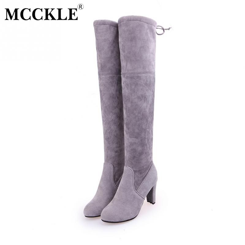 MCCKLE 2017 Female Winter Thigh High Boots Faux Suede Leather High Heels Women Over The Knee Botas Mujer Shoes Plus Size 34-43