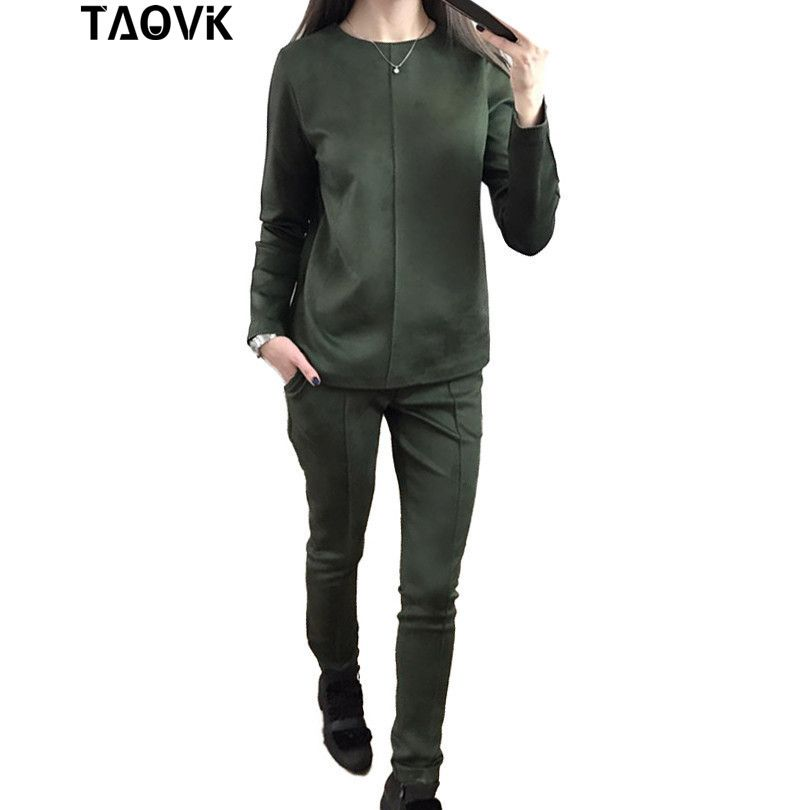 TAOVK new fashion Russia style Women's Autumn Suede Tracksuit Women Hoodies 2-Piece Set t-shirts+Long Pants) Leisure Suits