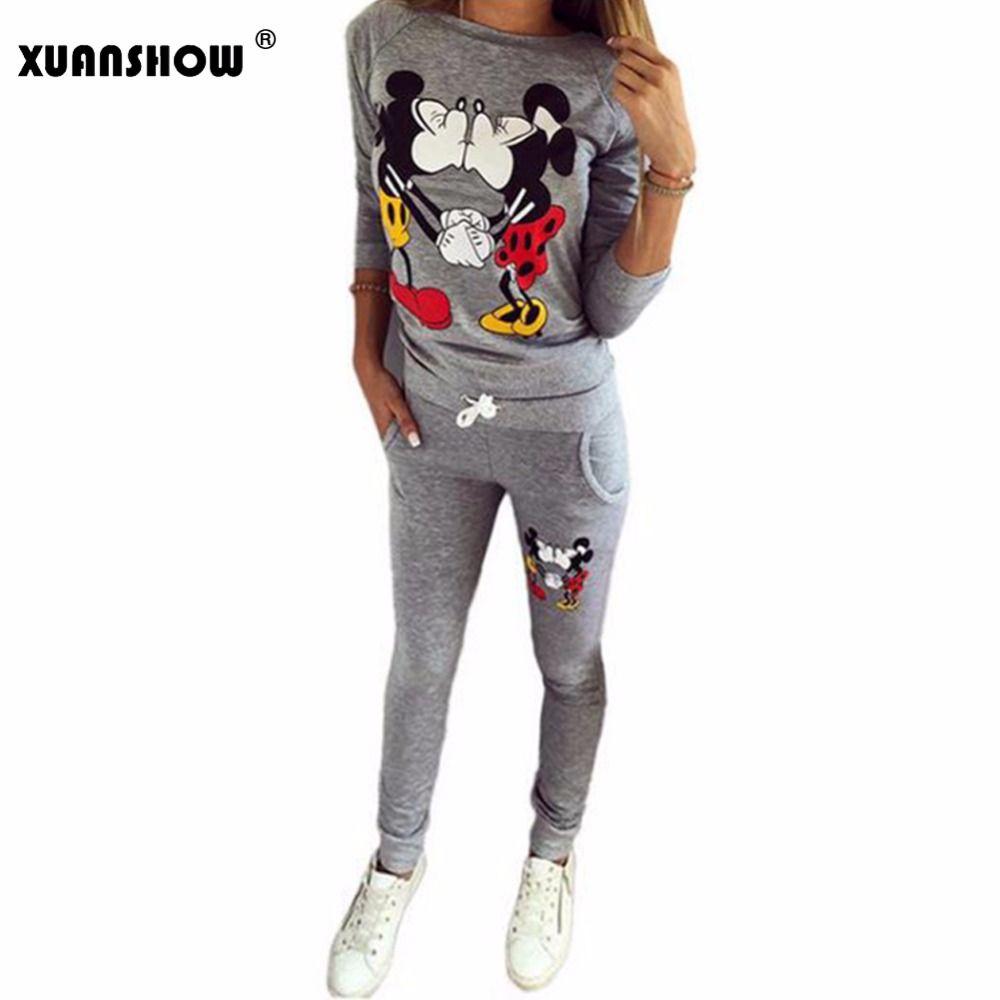 XUANSHOW Hot <font><b>Selling</b></font> Women Casual Sportswear Lovely Printed Hoodies long-sleeved Suit Kawayi Tenue Femme Sportswear Sets