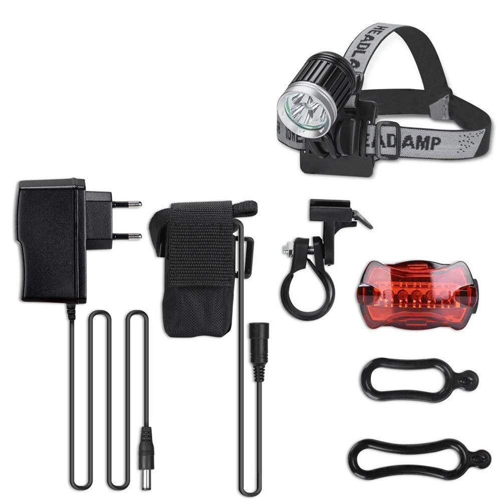 Powerful Lamp Road Bike Lighting MTB Headlight Mountain Bike LED Set Rechargeable Waterproof Cycling Accessaries #3N26