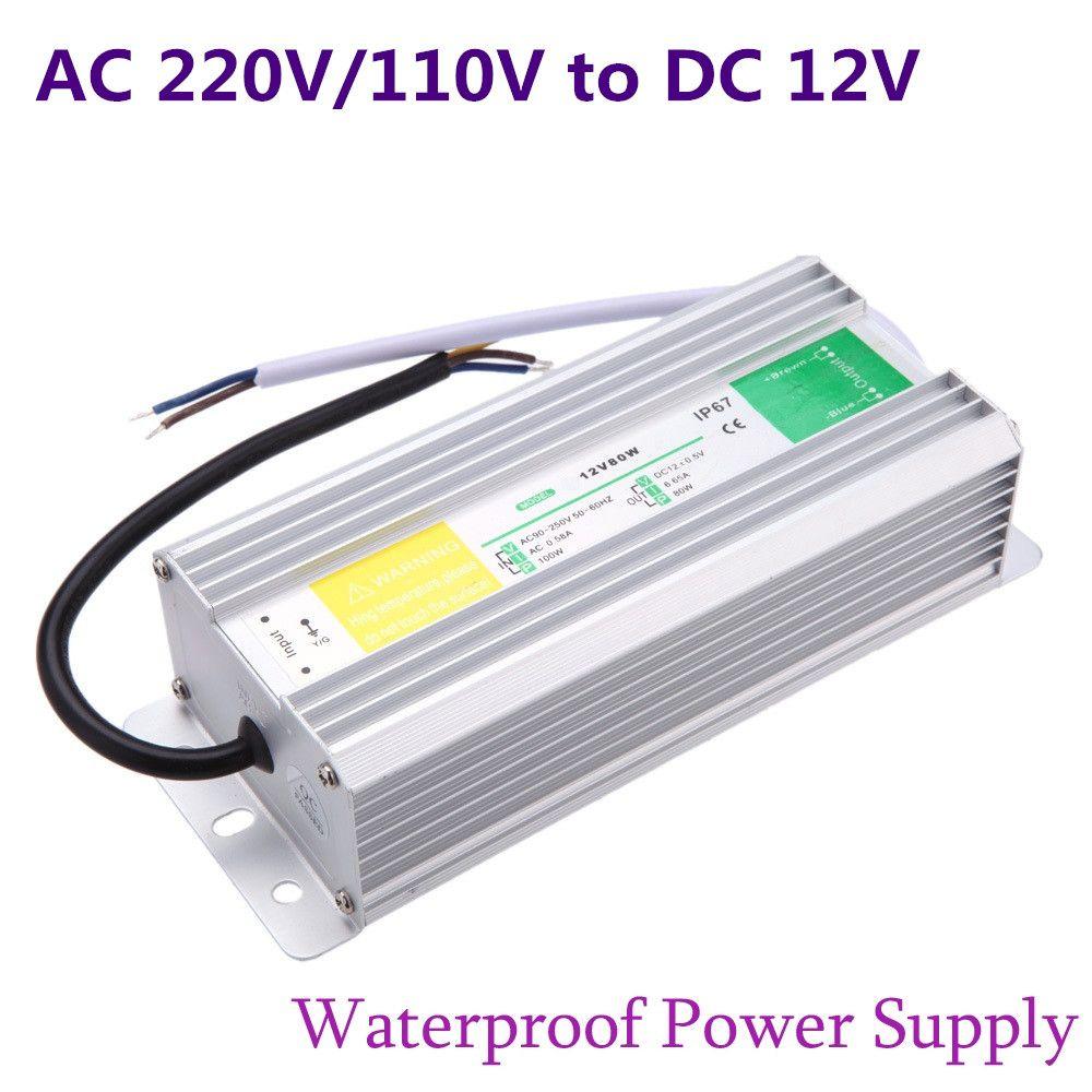DC 12 V alimentation LED fournir 50 W 60 W 80 W 100 W 150 W transformateur étanche IP67 pilote pour jardin extérieur paysage bande lumière