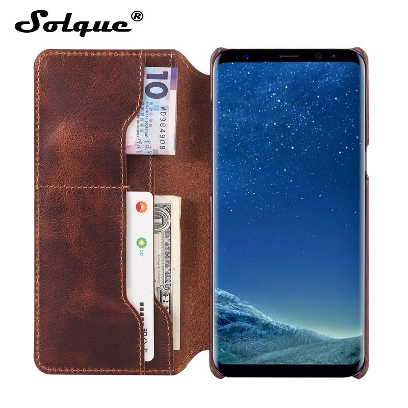Solque Real Genuine Leather Flip Cover Case For Samsung Galaxy S9 Plus S 9 Cell Phone Luxury Retro Leather Card Wallet Cases