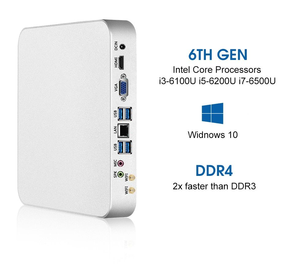XCY Mini PC Intel Core i7 6500U i5 6200U i3 6100U Windows 10 Linux 4 K UHD HTPC HDMI VGA 300 mbps WiFi Gigabit Ethernet 6 xUSB
