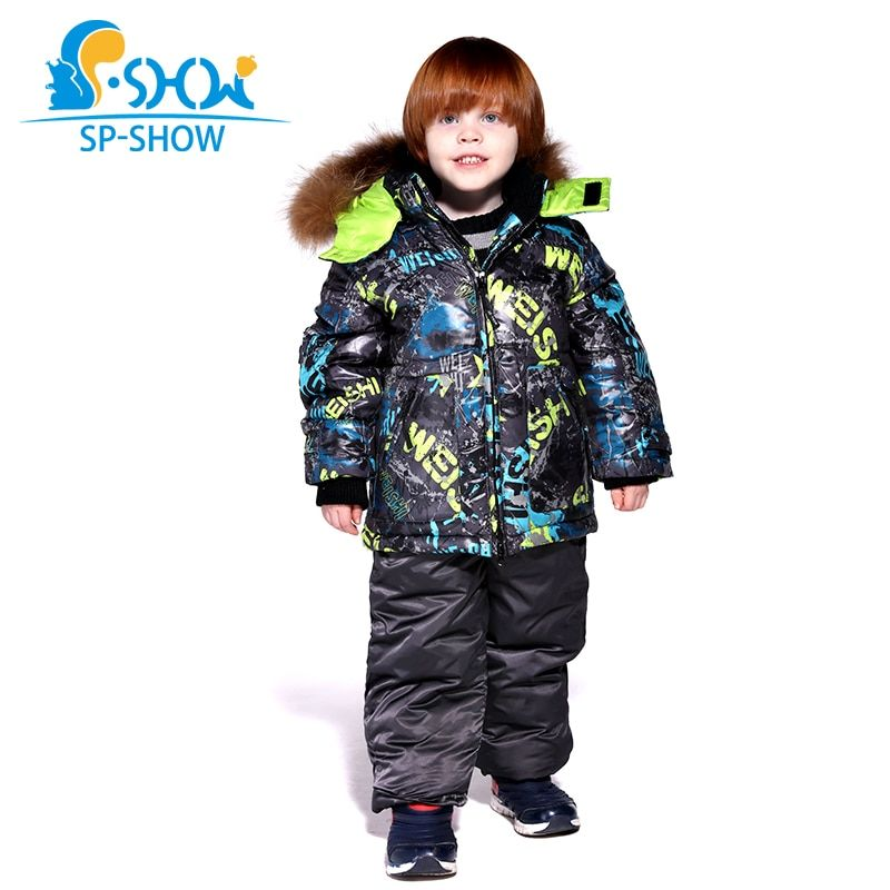 2018 Kids Boy And Girl Luxury Brand Ski Fur SuperJacket Windproof Jacket DownThick Warm Winter FurJacket / Coat + Trousers 004m