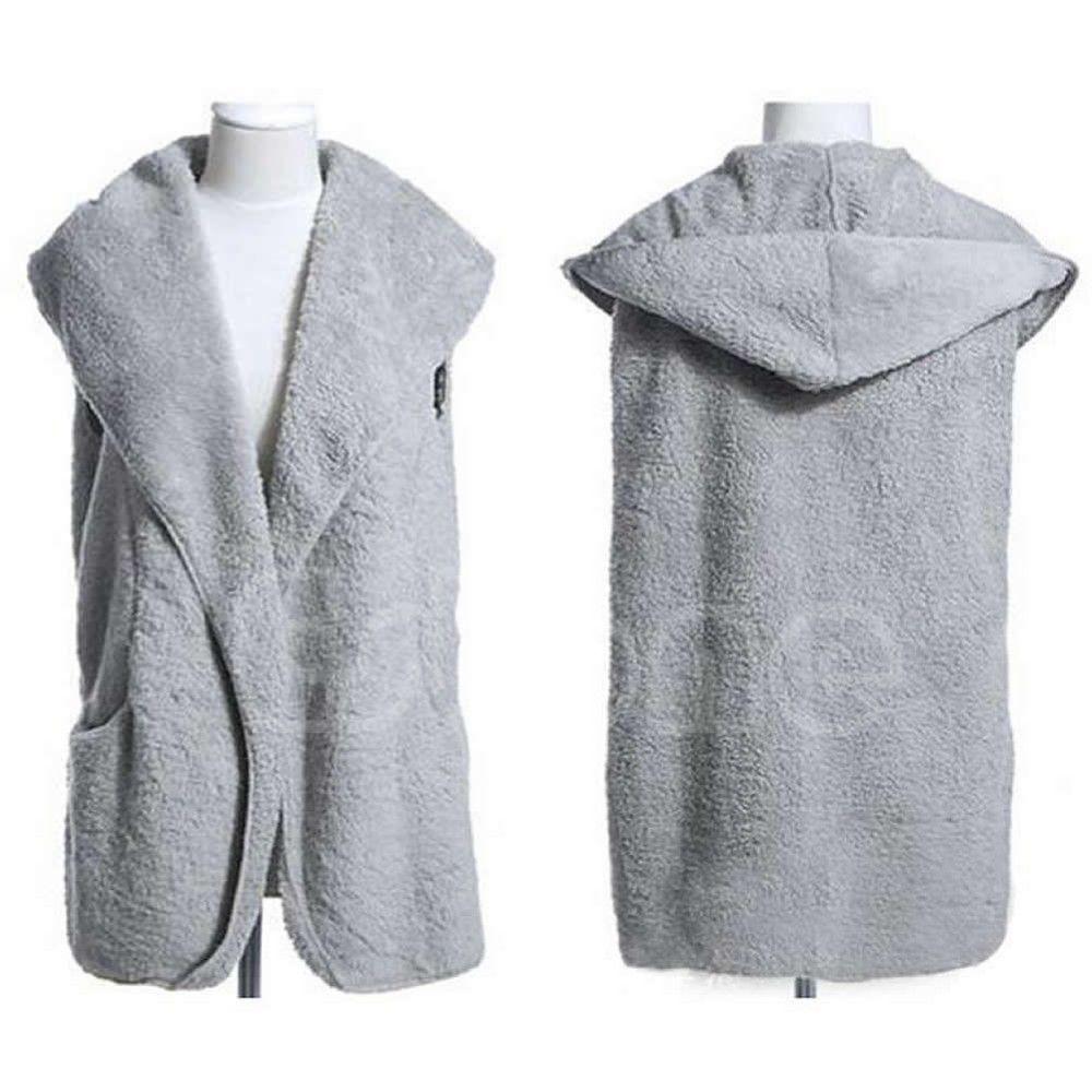 1pc Faux Lamb Fur Hoodie Long Vest Sleeveless Jacket Waistcoat Women Outerwear Coat