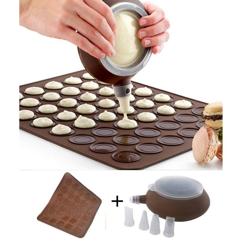 Ensembles de macarons LIXYMO (tapis en Silicone à 30 cavités + 1 distributeur de crème avec 4 buses) Macaron maker moules de cuisson set outils utilisation au four