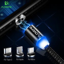 FLOVEME LED Magnétique Câble Pour La Foudre Micro USB Type C Téléphone Câble pour iPhone X 7 6 Xiaomi 1 m 2A Charge Rapide Aimant Chargeur