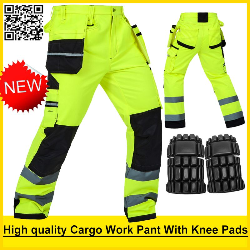 Bauskydd Mens Durable work pants safety workwear multi-pocket pants with knee pads safety working trousers free shipping