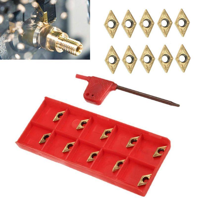 10 teile/los Wendeschneidplatten DCMT070204 US735 DCMT21.51 Einsätze mit Schlüssel Für Drehwerkzeug