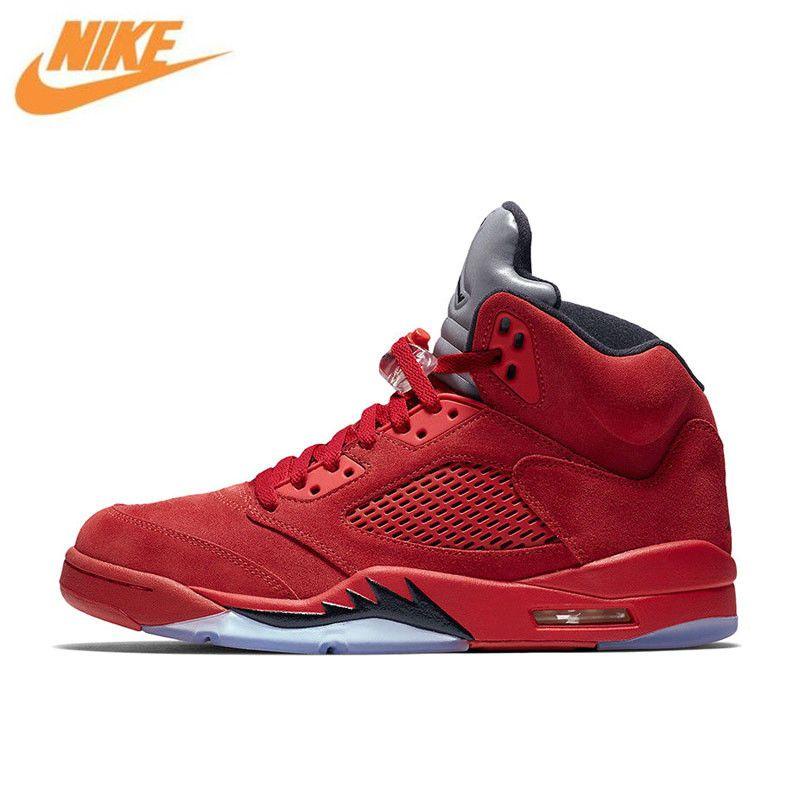 Nike Air Jordan 5 rot Wildleder AJ5 männer Atmungs Basketball Schuhe Sport Turnschuhe Neue Ankunft Offizielle