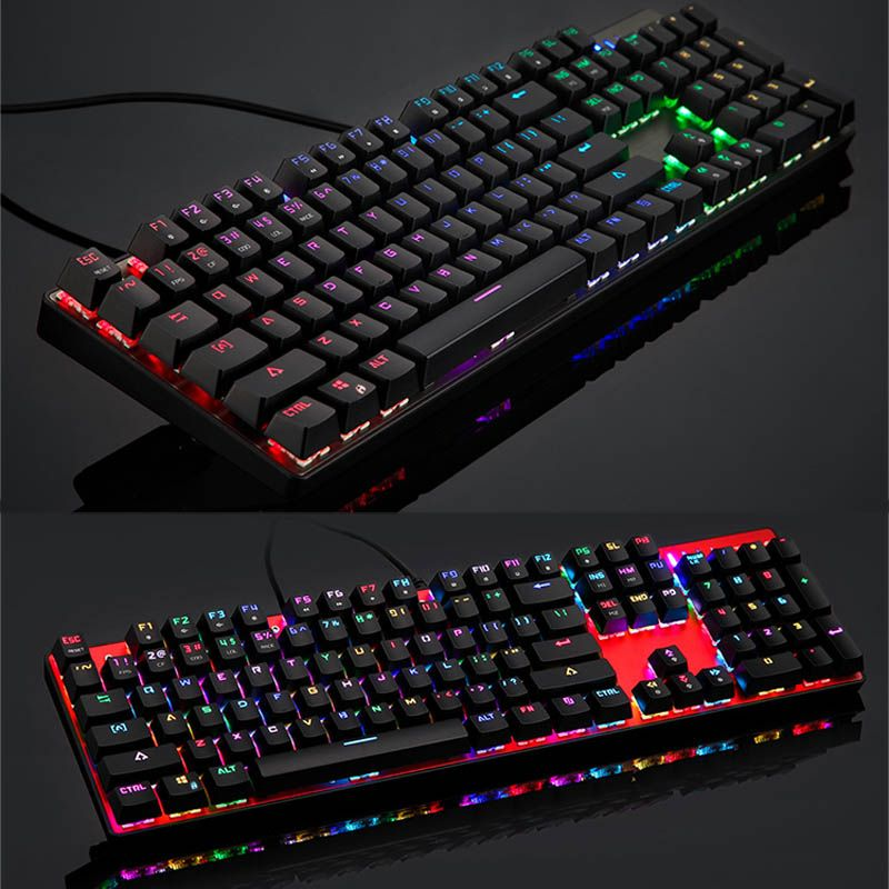 New Hot USB Wired Mechanical Keyboard 104 Keys LED RGB Backlight Gaming Keyboards for Computer Q99 99