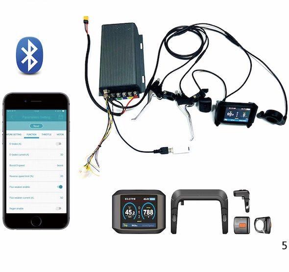 TFT display 36v- 72v 150a 8000w motor electric bike controller sine wave system Bluetooth Adapter Included