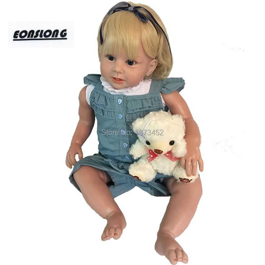 28 inches Soft Silicone Realistic Reborn Toddlers Girls lifelike Baby Dolls bebe reborn boneca with curved hair toys for kids