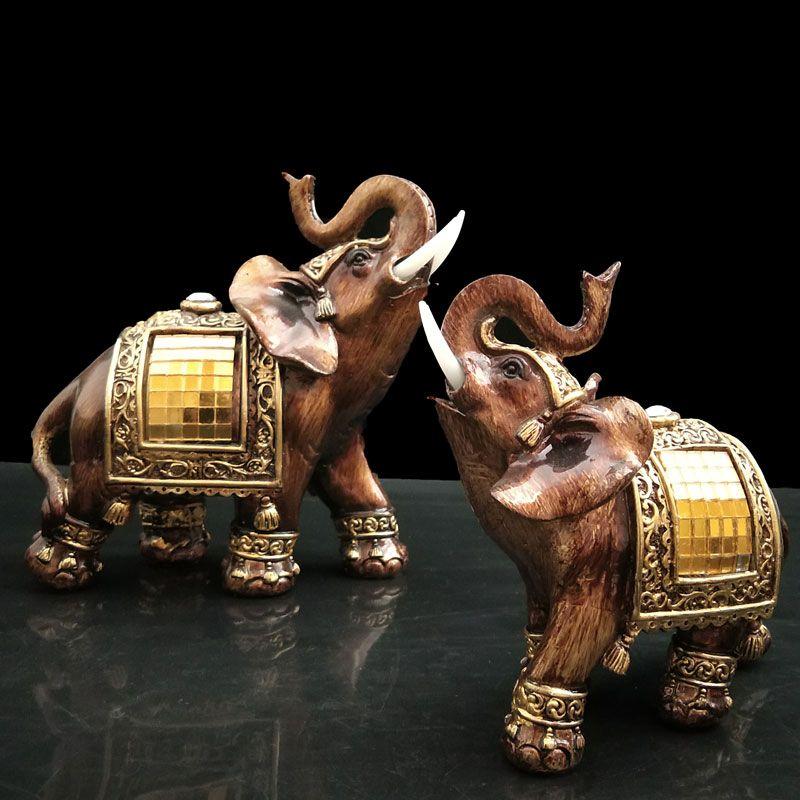 Figurines d'éléphant avec coffre en résine Figurines de jardin Statues d'éléphant chanceux Sculpture Feng Shui cadeaux de collection décor à la maison