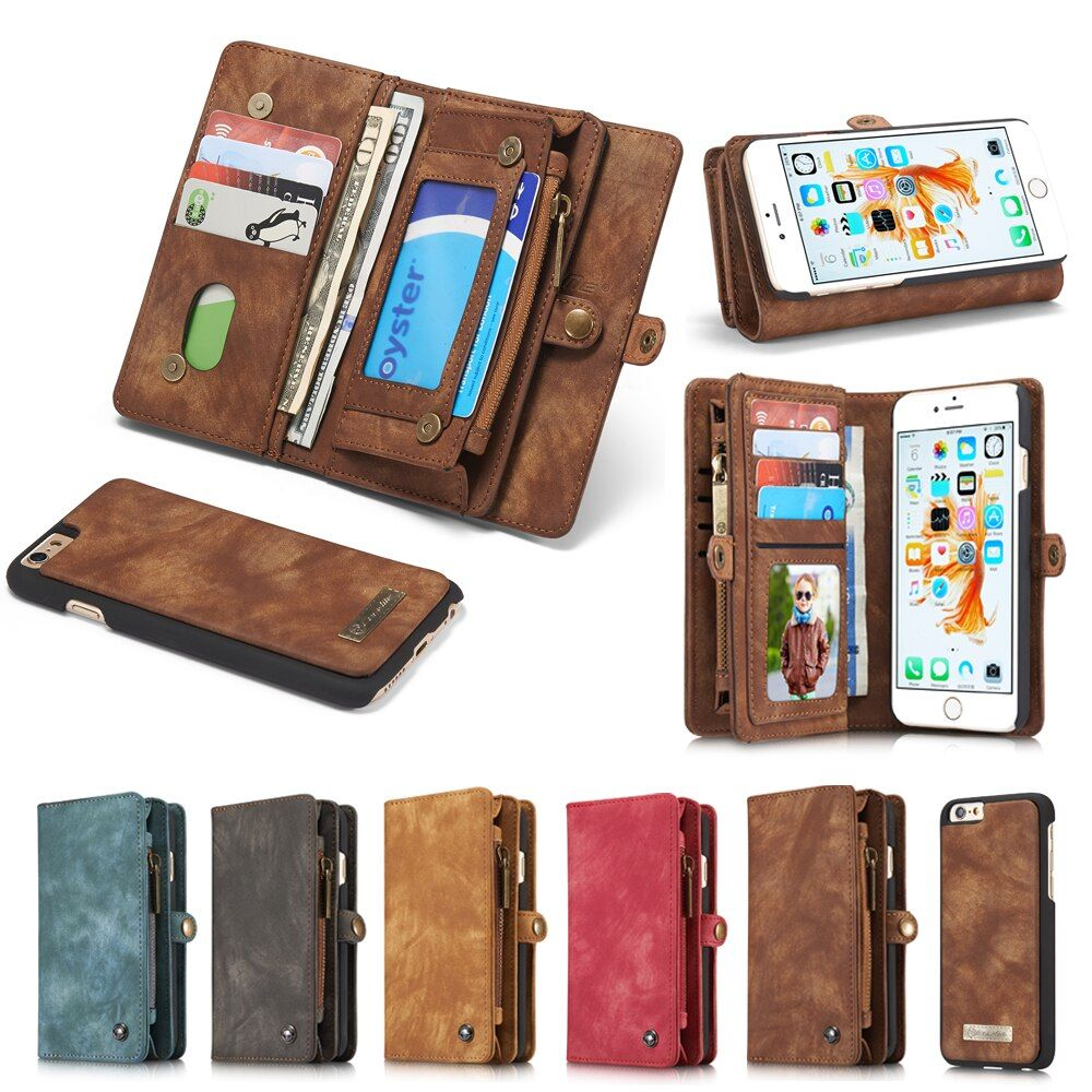 Genuine Leather Wallet Case For Apple iPhone X 8 7 6 6s/ 7 8 Plus Luxury Multi-functional Original Magnet Cover Phone Cases Bags