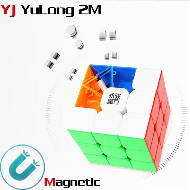 Yj yulong 2 M v2 M 3x3x3 cube magique magnétique yongjun aimants puzzle cubes de vitesse