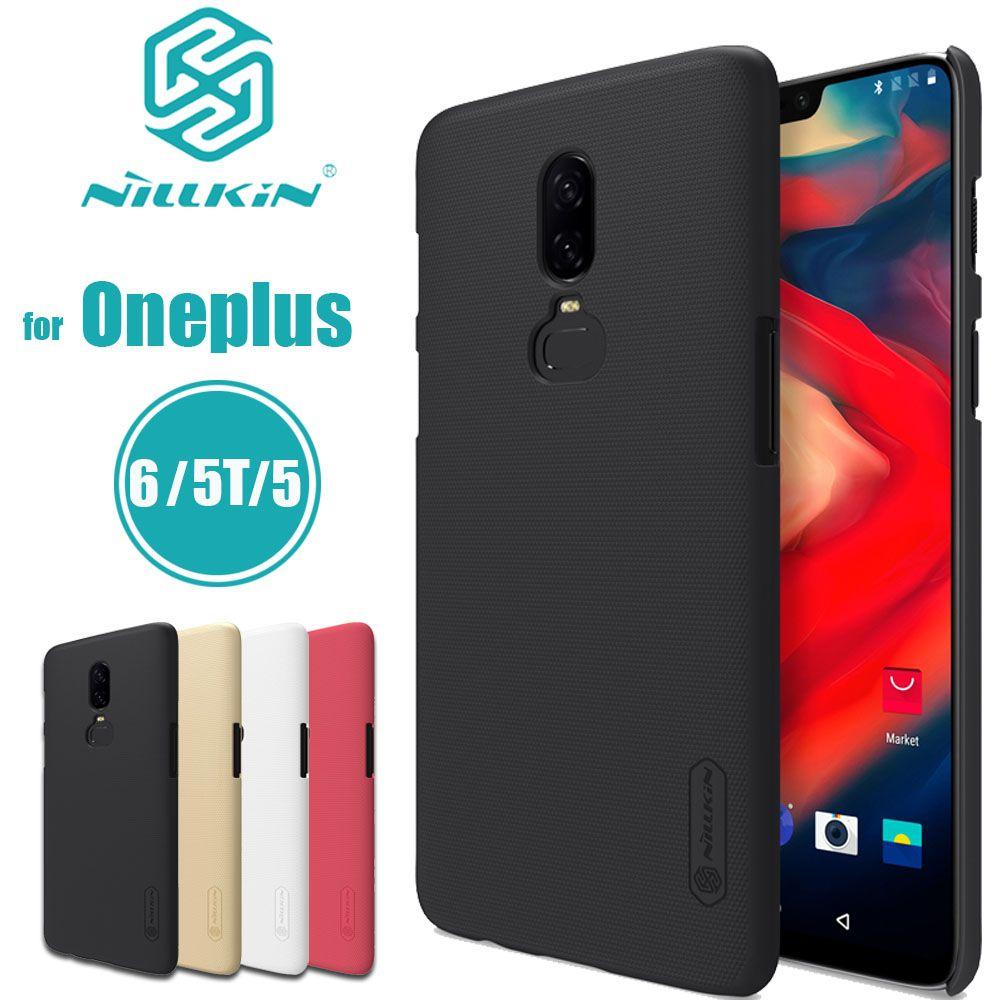 Nilkin Capa pour Oneplus 6 5 T 5 Cas Nillkin Givré Mat Dur PC en plastique Téléphone Sac Retour Pleine Couverture pour Un Plus 6 5 T 5 Shell
