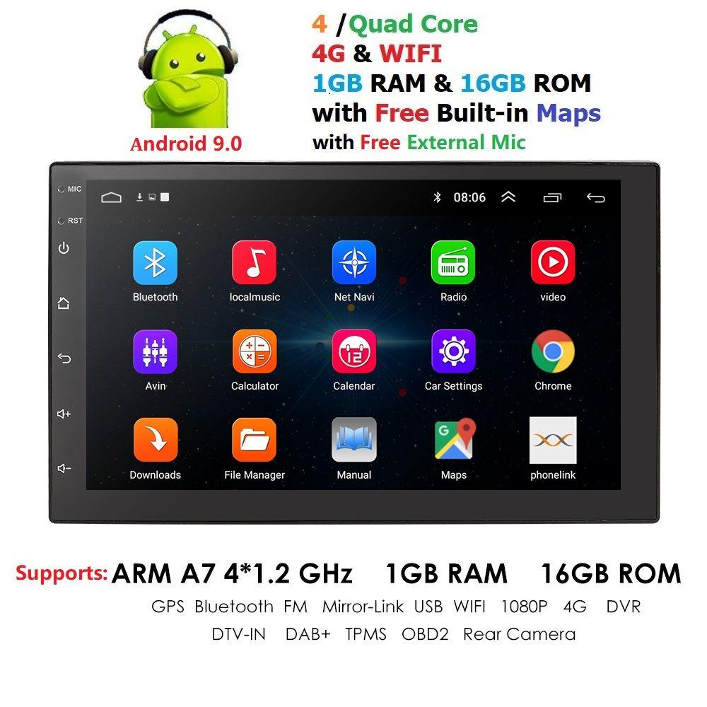Universel 2 din Android 9.0 Quad Core voiture lecteur multimédia GPS Wifi BT Radio 4G SIM réseau 1024*600 SWC DAB Mic USB Navi carte