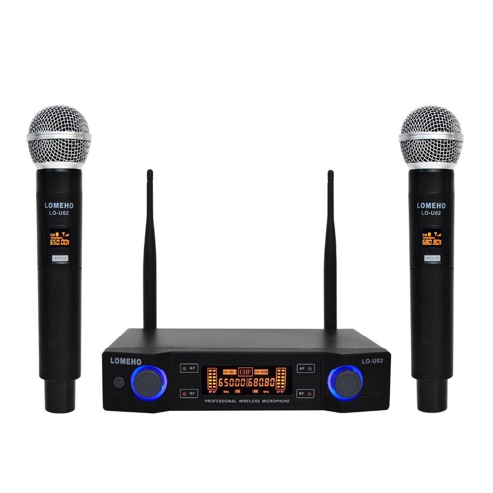 Lomeho LO-U02 2 De Poche UHF Fréquences Dynamique Capsule 2 canaux Sans Fil Microphone pour Système Karaoké