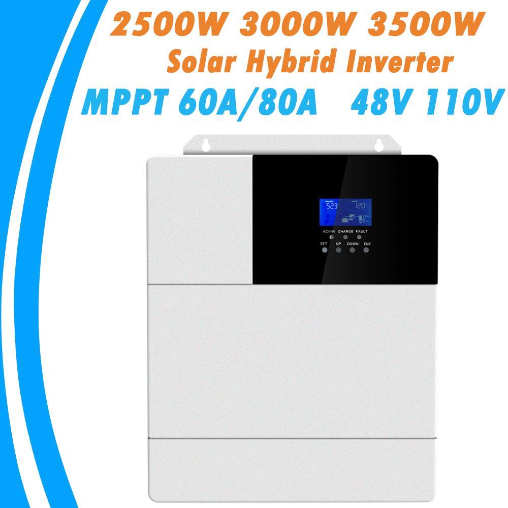 2500W 3000W 3500W Alle In Einem Solar Hybrid Inverter MPPT 60A 80A Reine Sinus-wechselrichter 48V 110V 50Hz 60Hz Auto Priorität Einstellung
