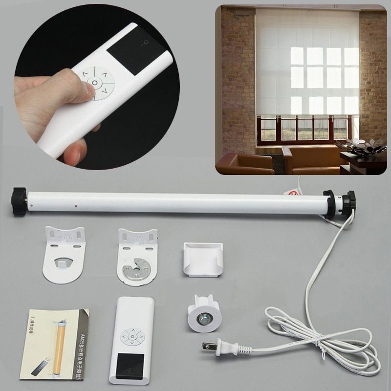 Roller Blind Motor AC 100-240V Electric Roller Shade Tubular Motor with Remote Control Home Decoration for Curtain Shade Roller