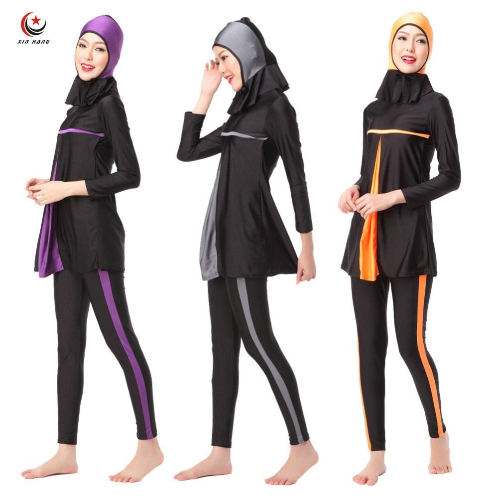 Ladies Full Cover Muslim Swimwears Islamic Womens Swimsuits Arab Islam Beach Wear Long Modest Islamic Hijab Swimming Burkinis