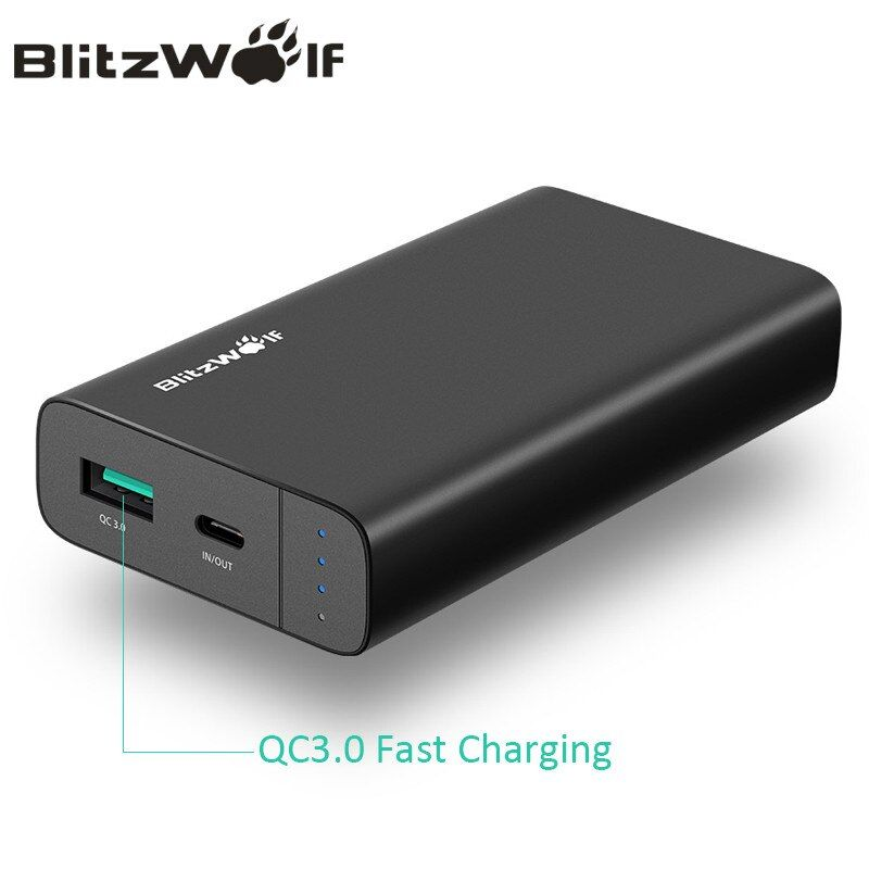 BlitzWolf 10000mAh Power Bank 18W QC3.0 Type-C Powerbank Dual USB Charger External Battery <font><b>Pack</b></font> Fast Charging For iPhone X 8 7 6