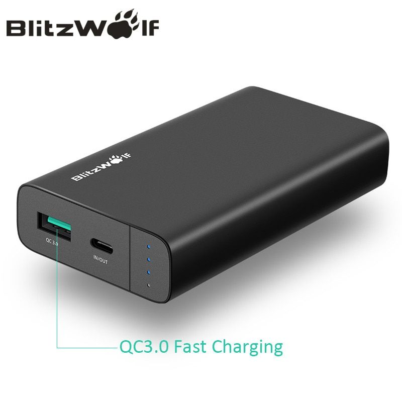 BlitzWolf 10000mAh Power Bank 18W QC3.0 Type-C Powerbank Dual USB Charger External Battery Pack Fast Charging For iPhone X 8 7 6