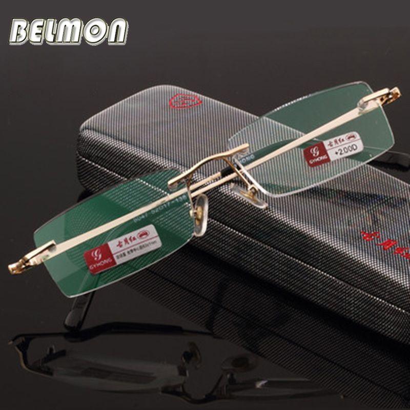 Pure Titanium Frame Magnetic Reading Glasses Crystal Rimless Diopter Glasses Presbyopic Eyeglasses +1.0+1.5+2.0+2.5+3.0+3.5+4.0