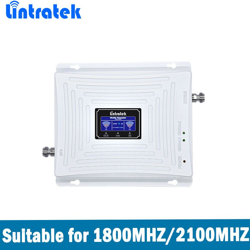 Lintratek Dual Band Signal Booster 4G LTE DCS 1800MHz+3G WCDMA UMTS 2100MHz Mobile Signal Repeater Amplifier with LCD Display