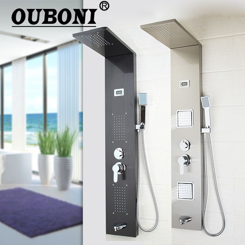 OUBONI Dark gray Shower Column Bathroom Wall Mounted One Handle +Hand shower+Tub Spout+Massage System Shower Panel