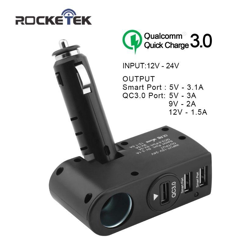 Rocketek car charger Smart IC 3.1A Quick QC 3.0 USB phone Charger Adapter 1 Socket Car Cigarette Lighter Splitter car-charger