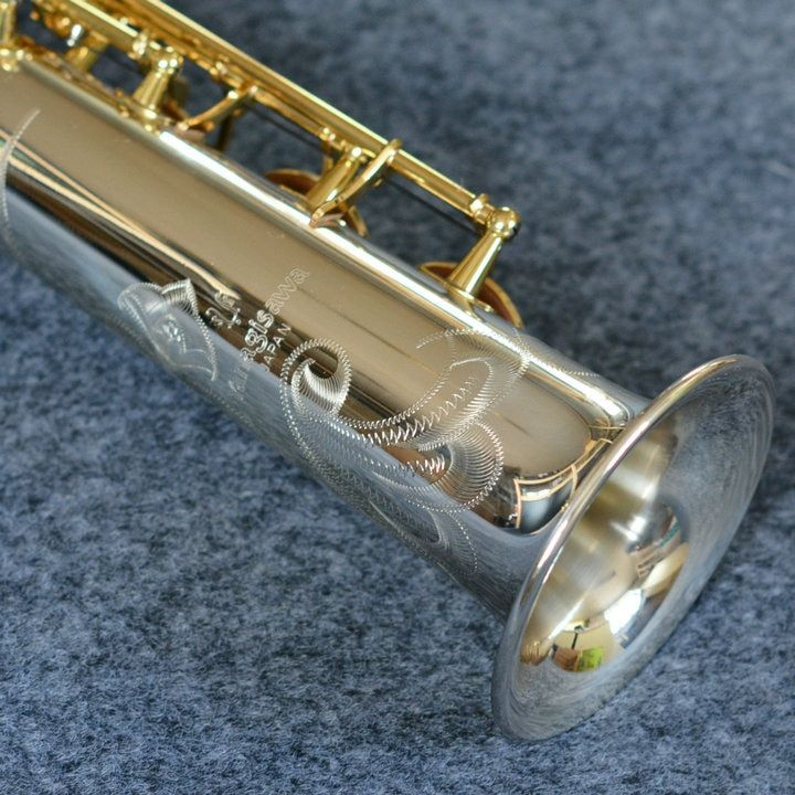 Neue Ankunft Exquisite Carving YANAGISAWA S-9030 Sopran B (B) saxophon Silber Überzogene Rohr Vergoldet Key Professionelle Messing Sax