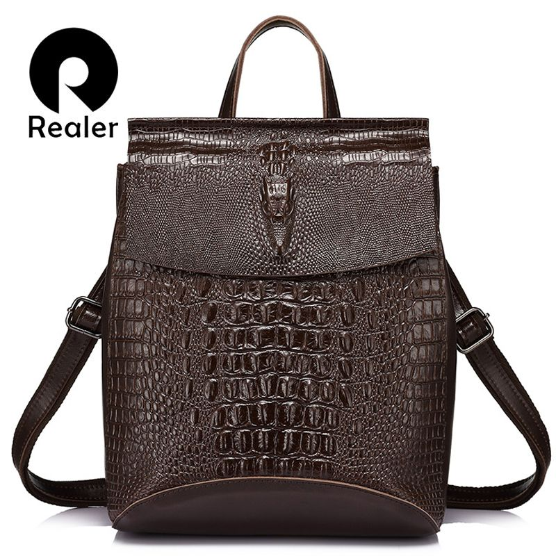 REALER Brand fashion women backpack high quality split leather shoulder bag female crocodile prints large multifunctional bag