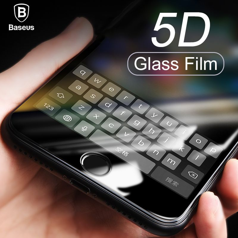 Baseus 5D Screen Protector Tempered Glass For iPhone 8 7 Plus Full Cover Protective Anti Blue Toughened Glass Film For iPhone 8