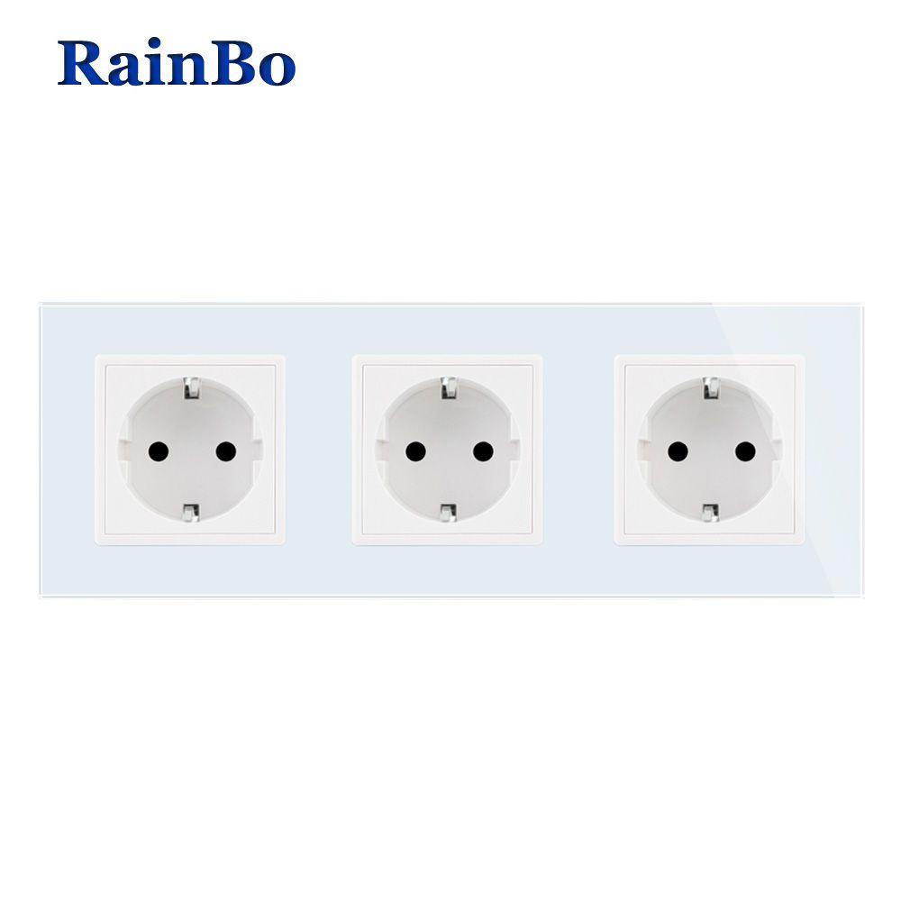 RainBo fabricant-prise secteur murale EU-norme Crystal-verre-panneau AC 110 ~ 250V-16A 222*80mm prise murale A38E8E8EW/B
